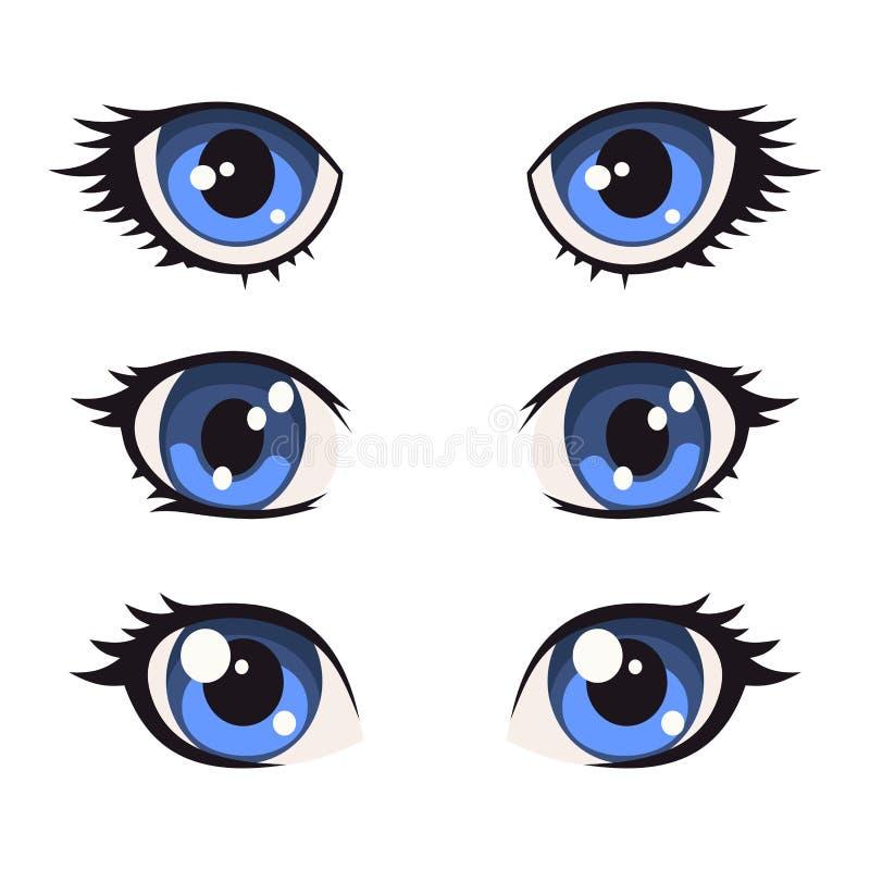 Olhos azuis do Anime dos desenhos animados ajustados Vetor ilustração royalty free
