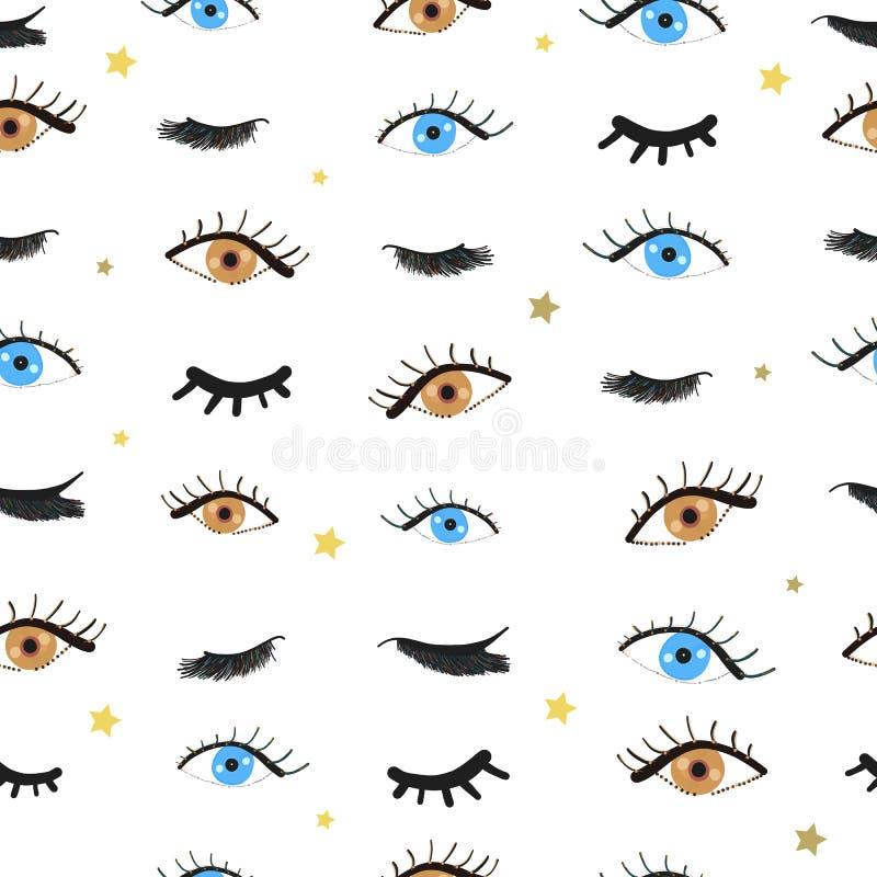 Olhos azuis e marrons da beleza Olhos abertos e fechados Teste padrão das pestanas ilustração royalty free