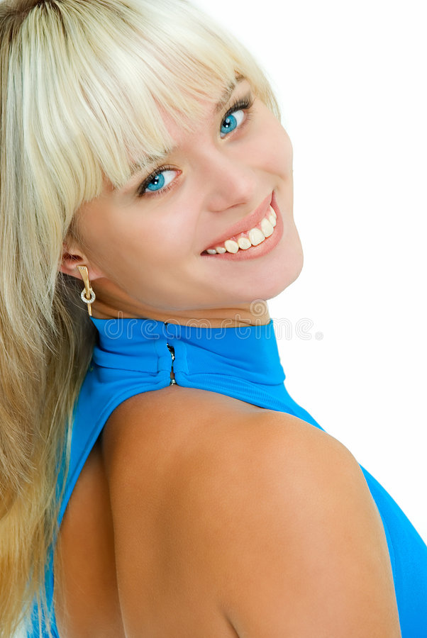Olhos azuis e vestido imagem de stock