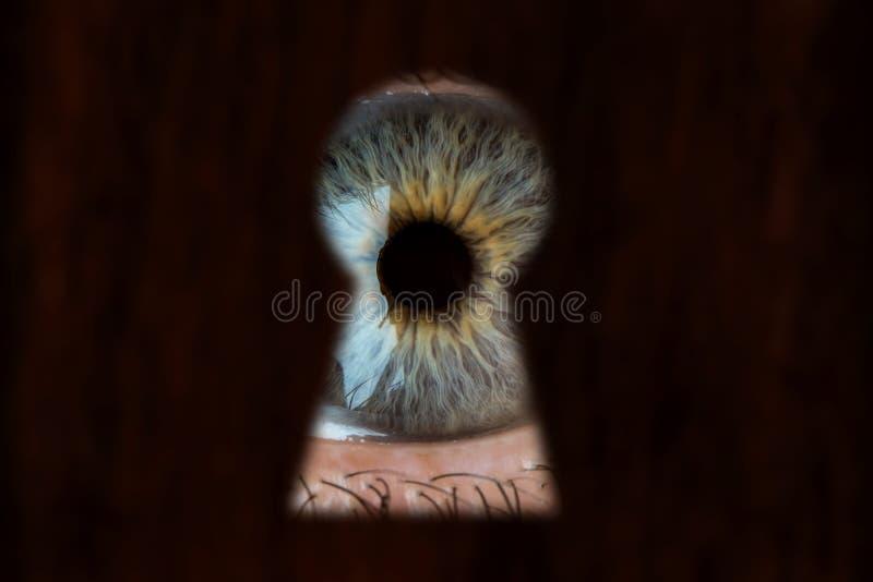 Olhos azuis masculinos que olham através do buraco da fechadura Conceito do voyeurismo, da curiosidade, do assediador, da fiscali fotografia de stock royalty free