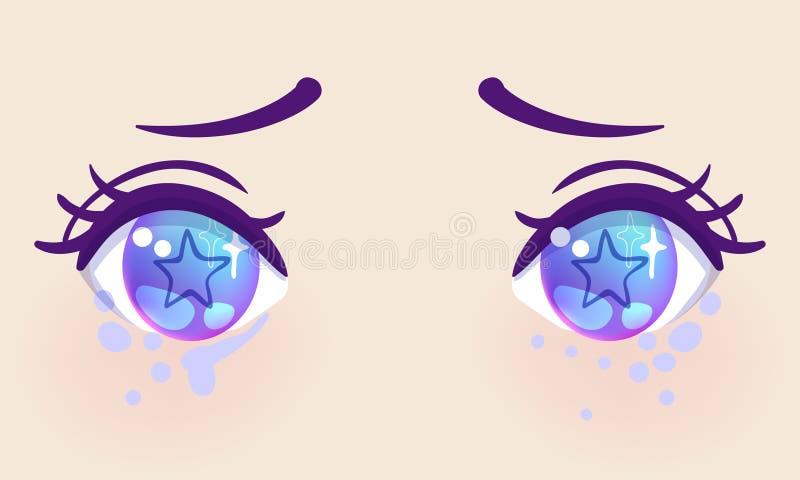 Olhos bonitos coloridos no estilo do anime (manga) com luz brilhante ilustração stock