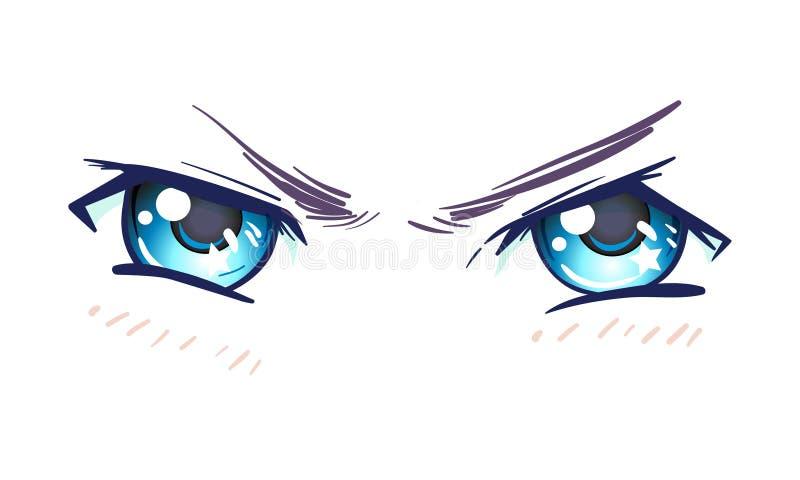 Olhos bonitos coloridos no estilo do anime (manga) com luz brilhante ilustração do vetor
