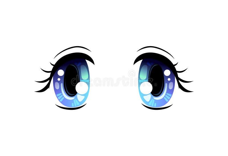 Olhos brilhantes, olhos bonitos azuis com reflexões claras Manga Japanese Style Vetora Illustration ilustração royalty free