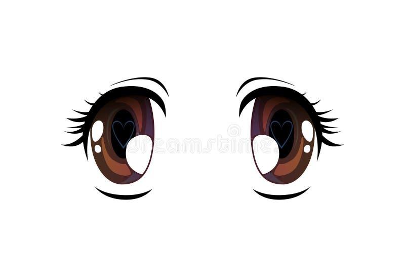 Olhos brilhantes com o aluno na forma do coração, olhos bonitos com reflexões claras Manga Japanese Style Vetora Illustration ilustração royalty free
