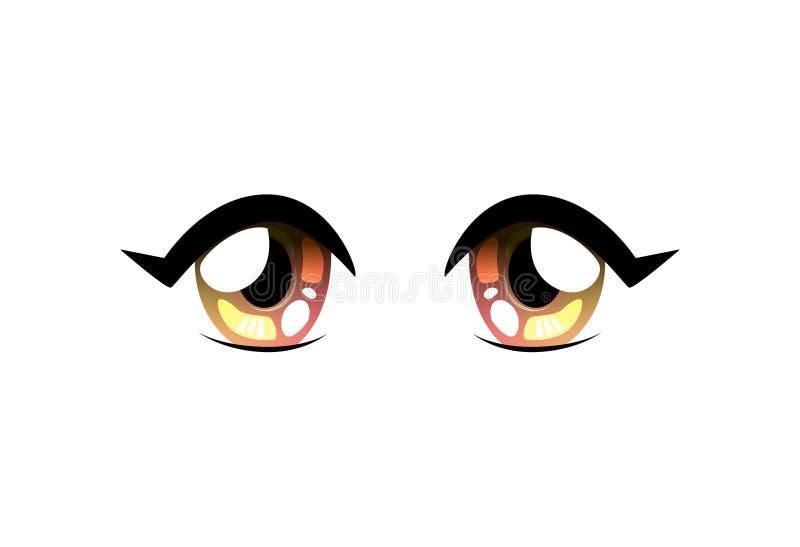 Olhos brilhantes da forma redonda, olhos bonitos com reflexões claras Manga Japanese Style Vetora Illustration ilustração do vetor