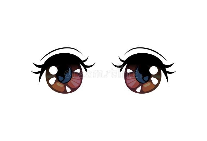 Olhos brilhantes de Brown, olhos bonitos com reflexões claras Manga Japanese Style Vetora Illustration ilustração royalty free