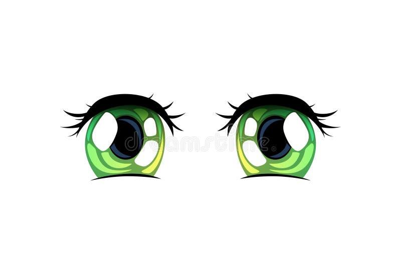Olhos brilhantes verdes, olhos bonitos com reflexões claras Manga Japanese Style Vetora Illustration ilustração do vetor