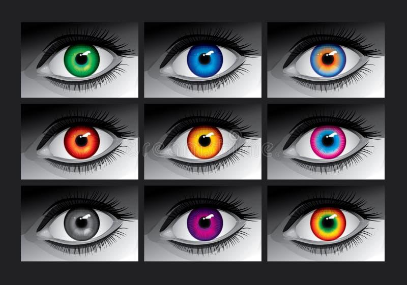 Olhos com íris da cor foto de stock