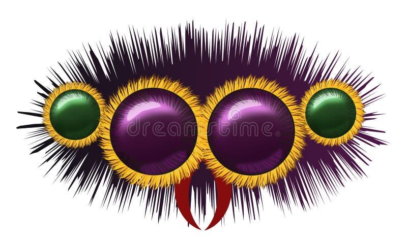 Olhos da aranha peludo enorme ilustração stock