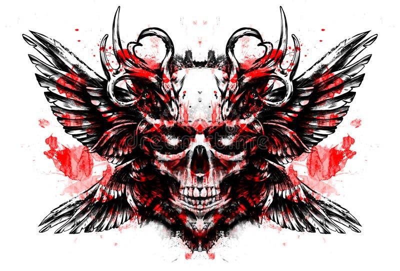 Olhos da efervescência do crânio do demônio ilustração do vetor