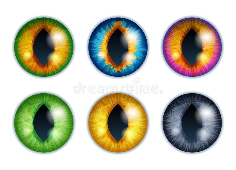 Olhos da fantasia ajustados - cores sortidos Projeto dos alunos da íris ilustração do vetor