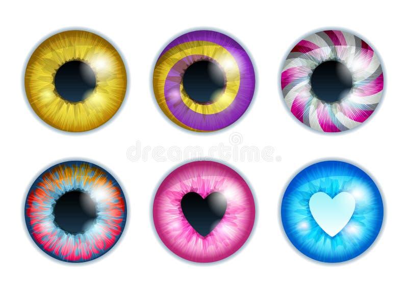 Olhos da fantasia ajustados - cores sortidos Projeto dos alunos da íris ilustração stock