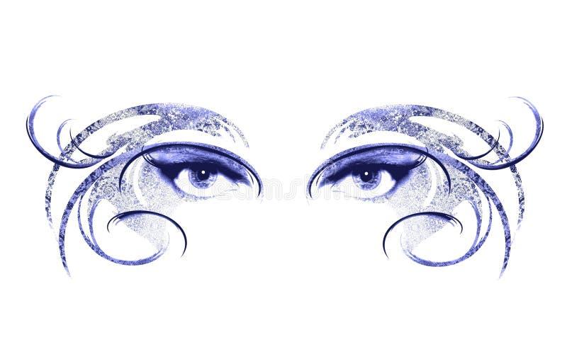 Olhos da máscara desgastando da mulher ilustração royalty free