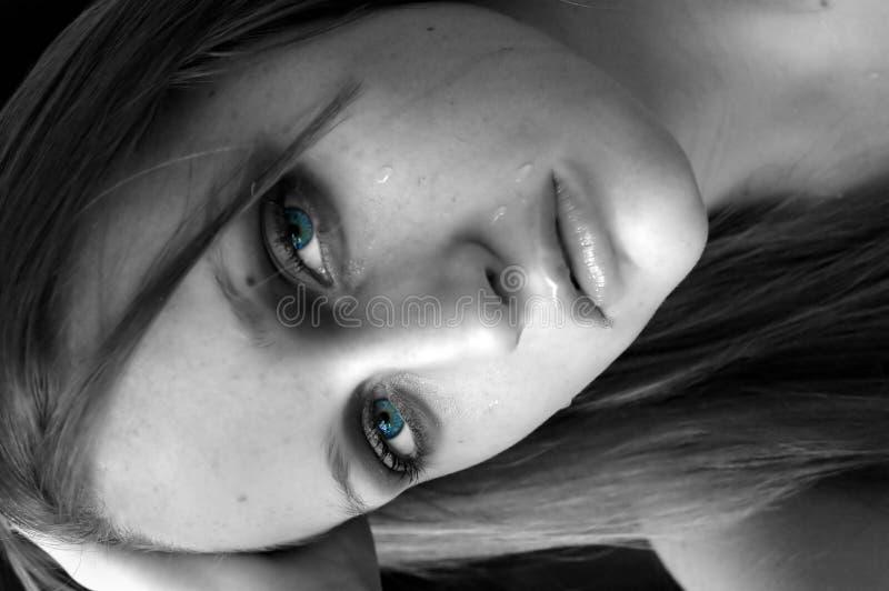 Olhos de grito do aqua fotografia de stock