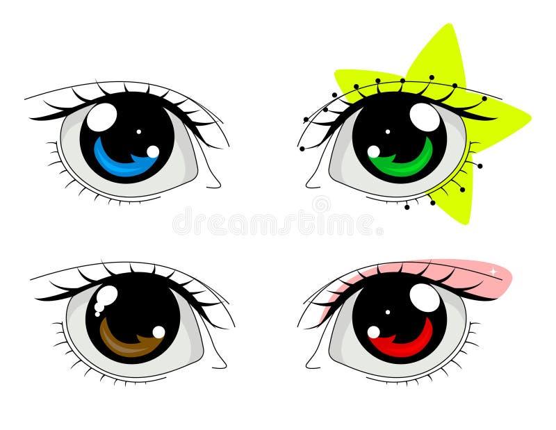Olhos do Anime ajustados ilustração do vetor