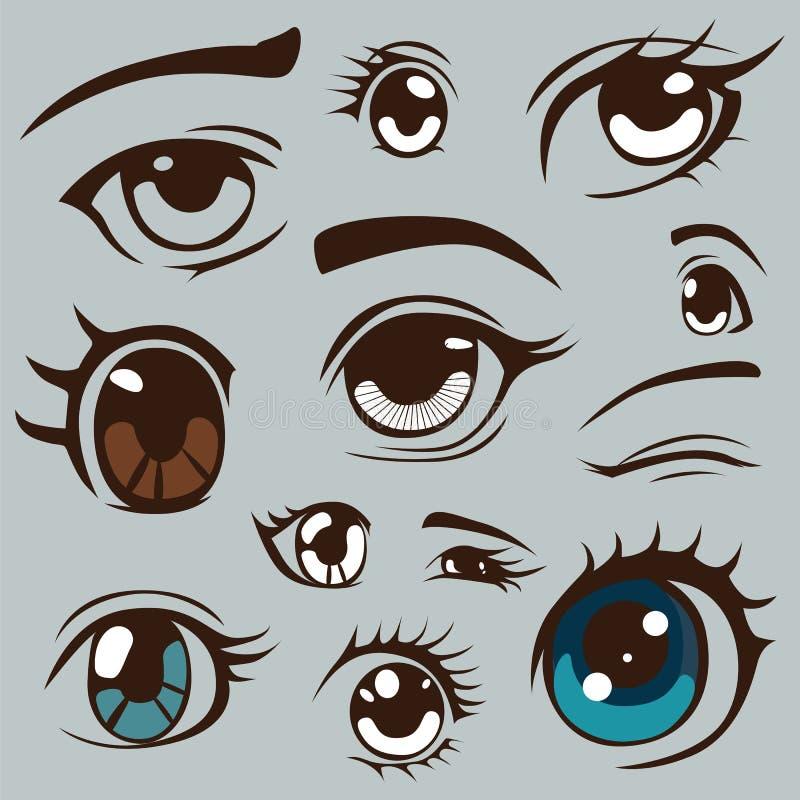 olhos do estilo do anime ajustados ilustração do vetor