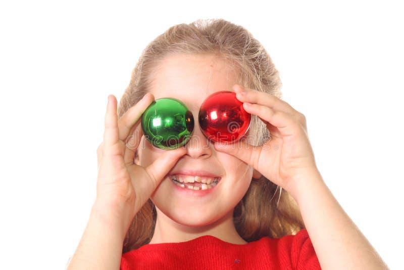 Olhos do ornamento do Natal do miúdo fotos de stock royalty free