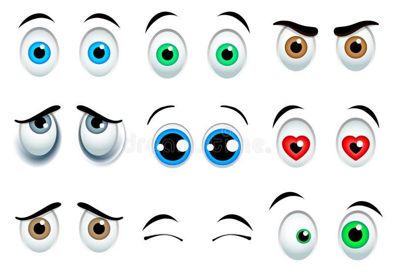 Olhos dos desenhos animados ajustados ilustração do vetor