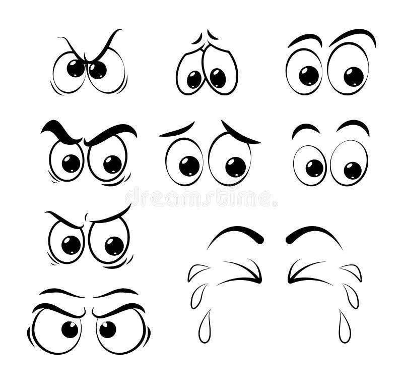Olhos dos desenhos animados ajustados - triste, irritado, grito isolado no fundo branco ilustração royalty free