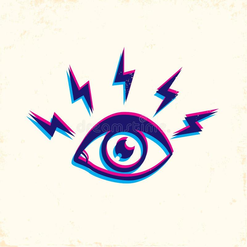 Olhos e relâmpago ilustração do vetor