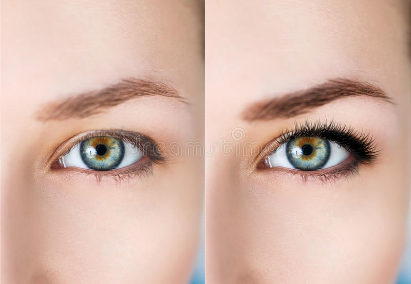 Olhos fêmeas antes e depois da extensão da pestana foto de stock
