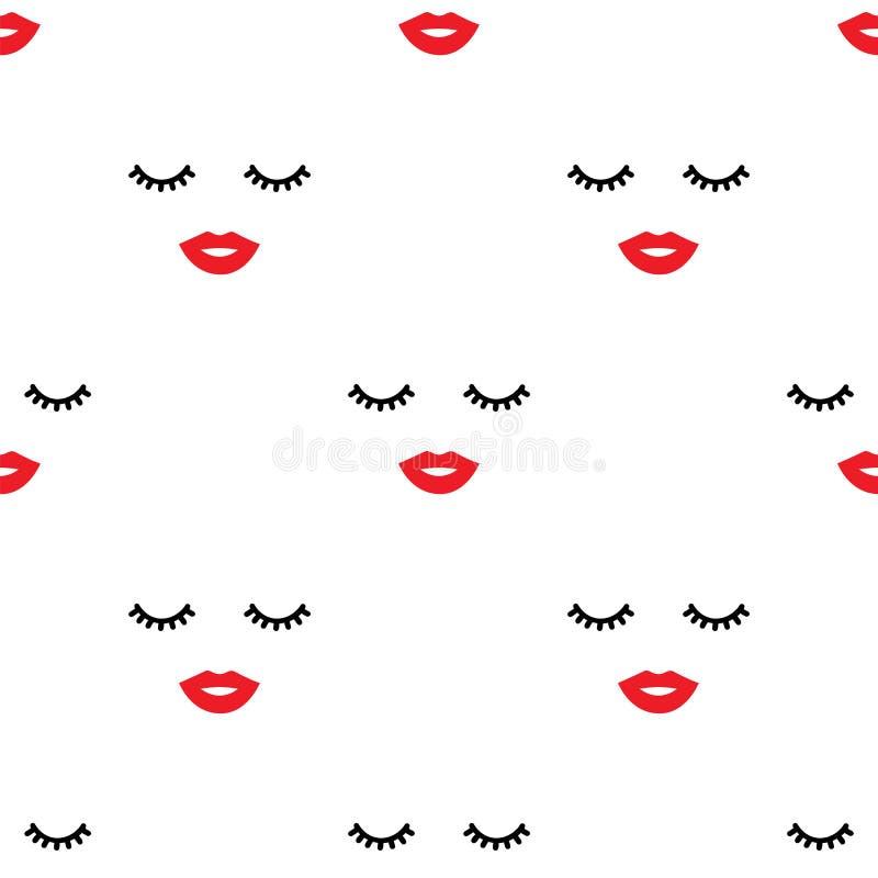 Olhos fechados e teste padrão vermelho dos bordos ilustração royalty free