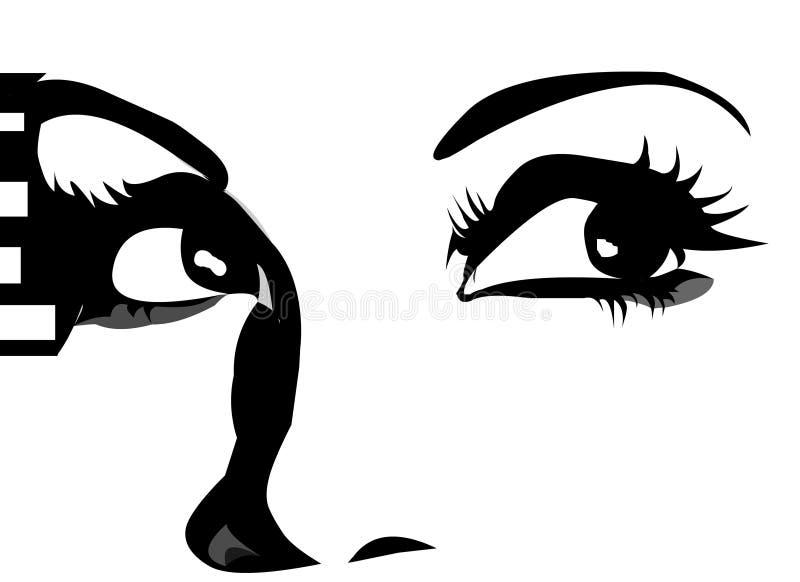 Olhos gráficos que olham acima ilustração stock