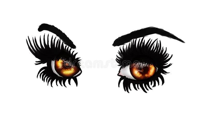 Olhos marrons da fantasia ilustração do vetor