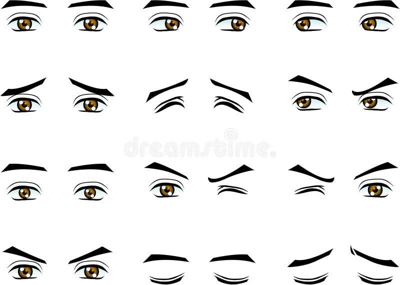 Olhos masculinos do vetor na emoção diferente ilustração royalty free