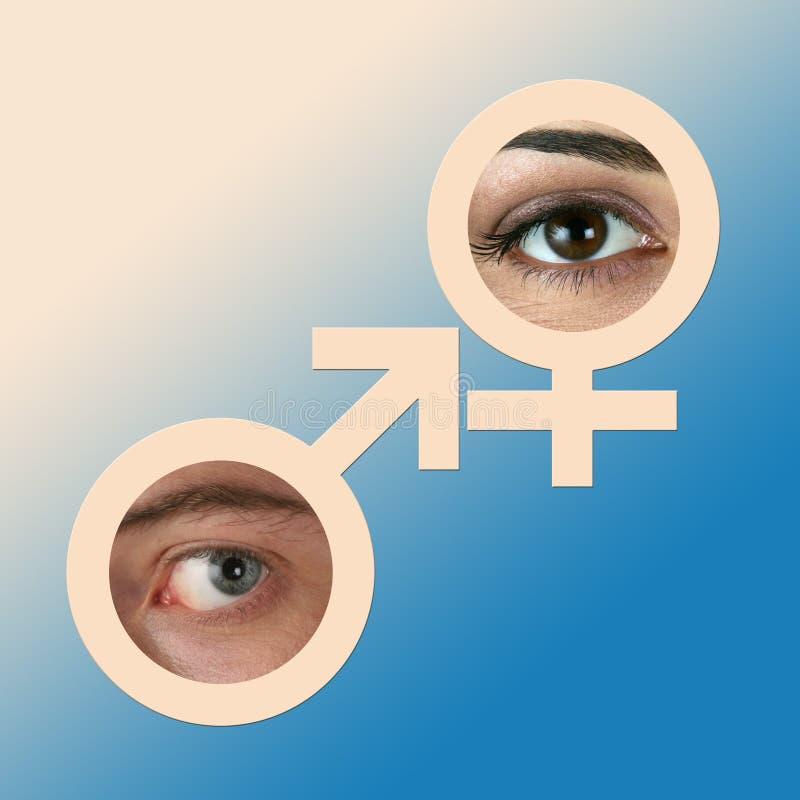 Olhos masculinos e fêmeas fotos de stock royalty free