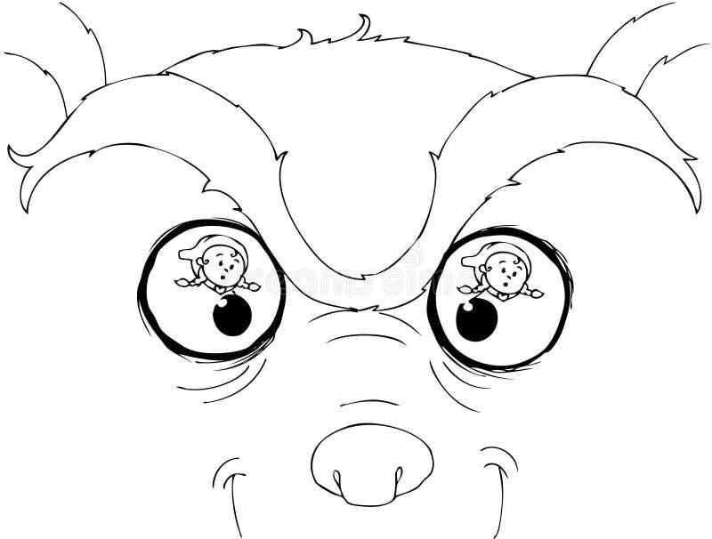 Olhos maus colorindo do lobo ilustração stock