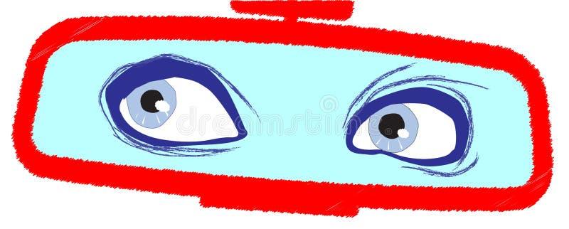 Olhos no espelho retrovisor ilustração royalty free