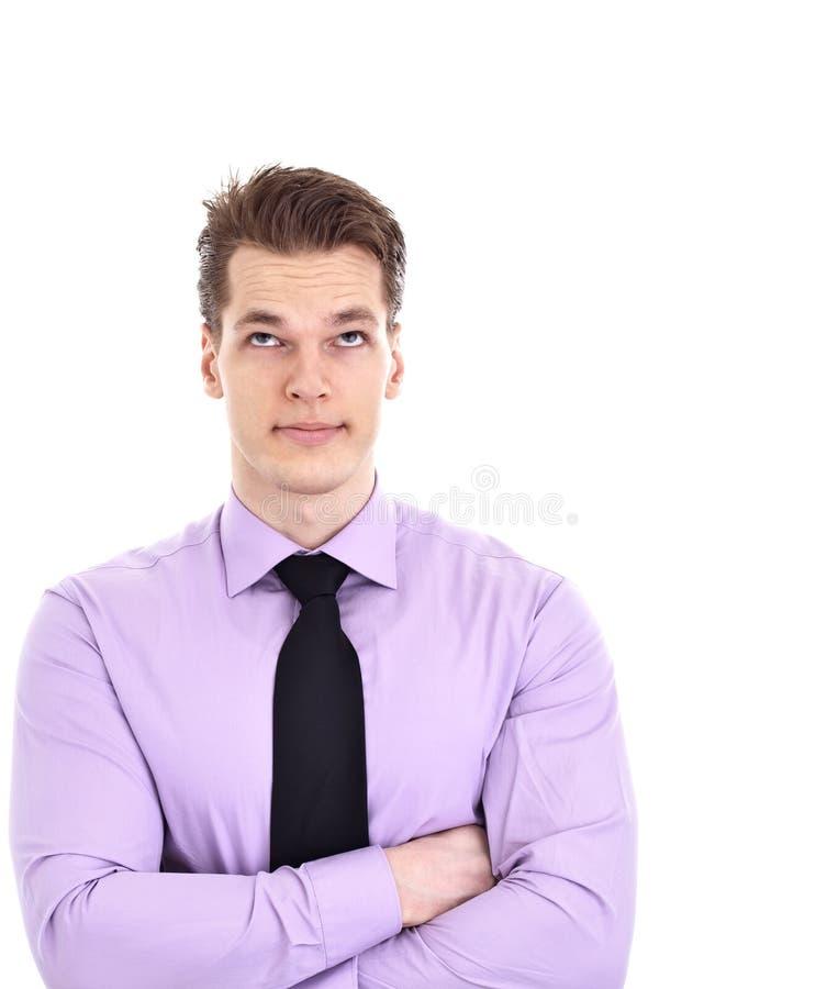 Olhos novos do rolamento do homem de negócios, isolados imagens de stock
