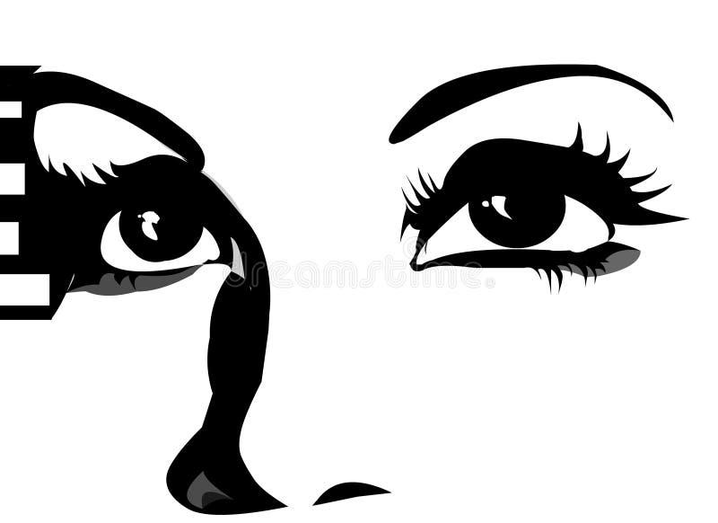 Olhos que olham acima ilustração royalty free