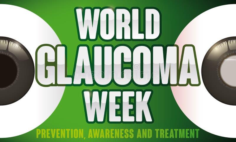 Olhos saudáveis e doentes a impedir na semana da glaucoma do mundo, ilustração do vetor ilustração do vetor