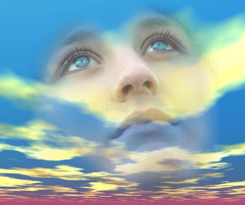 Olhos sonhadores ilustração do vetor