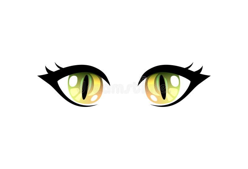 Olhos verdes bonitos brilhantes com reflexões claras Manga Japanese Style Vetora Illustration ilustração royalty free