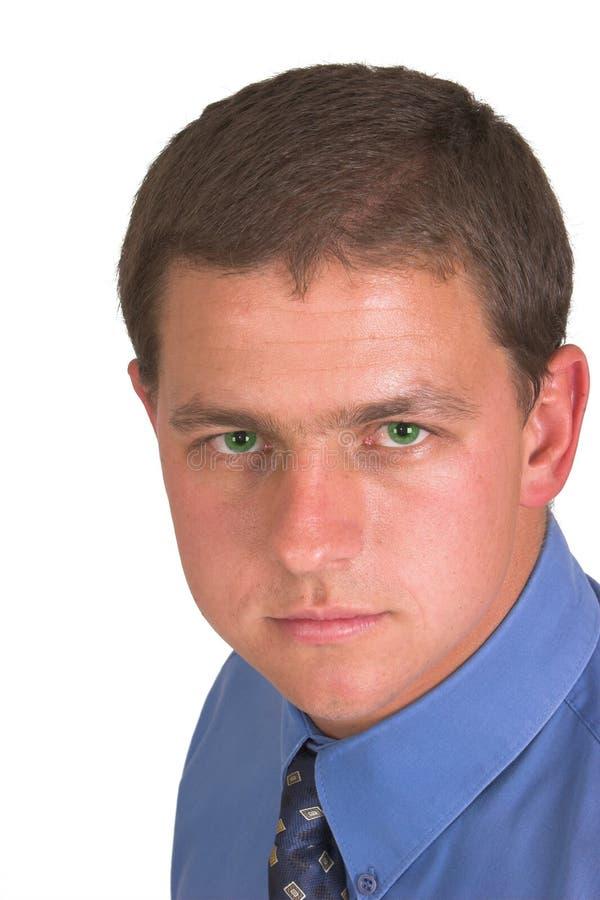 Olhos verdes de homem de negócio imagens de stock