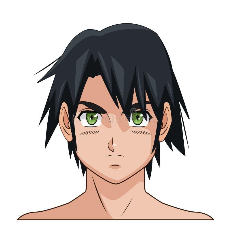 Olhos verdes masculinos de cabelo preto do anime do manga da cara do retrato ilustração stock