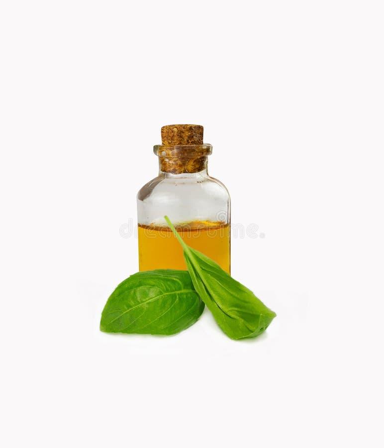 Oli essenziali del basilico in bottiglia immagini stock