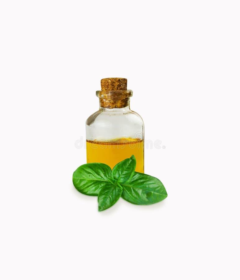 Oli essenziali del basilico in bottiglia isolata su bianco immagini stock