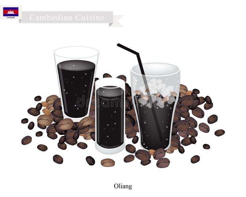 Oliang ou café noir cambodgien avec de la glace illustration de vecteur