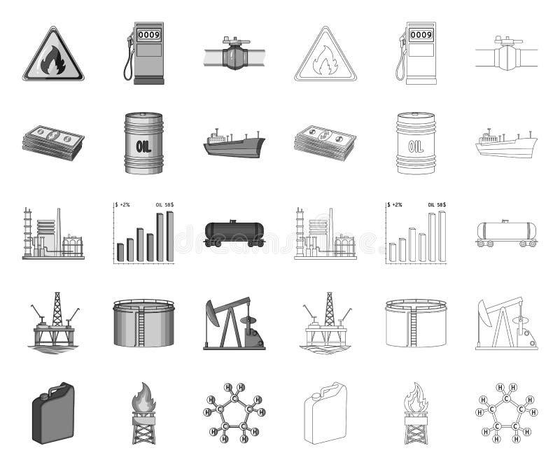 Olie de industrie mono, overzichtspictogrammen in vastgestelde inzameling voor ontwerp Materiaal en de voorraadweb van het oliepr royalty-vrije illustratie