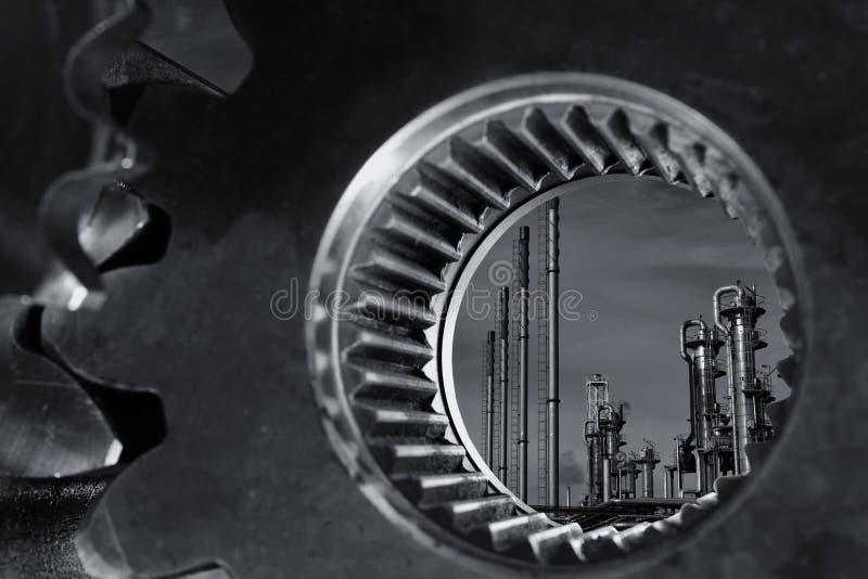 Olie en gas door een reuzetoestelas stock foto's