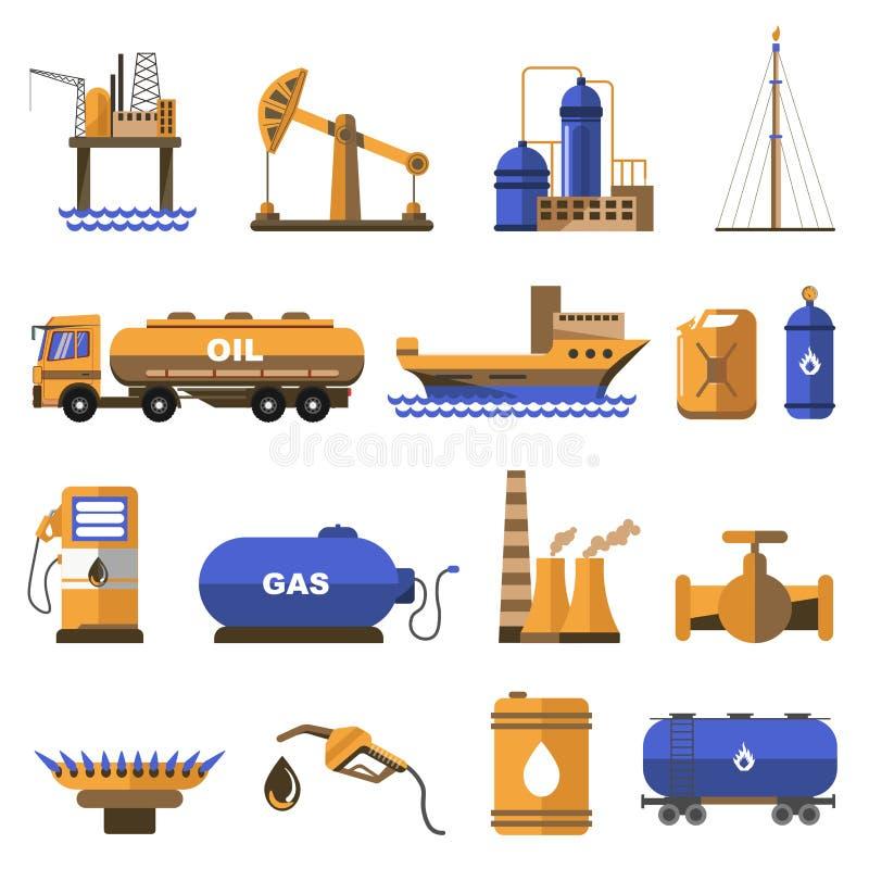 Olie en gas geplaatste pictogrammen stock illustratie