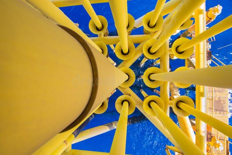 Olie en gas het productieomhulsel en het buizenstelsel in goed lassen bij olie en gasbron ver platform in royalty-vrije stock foto's