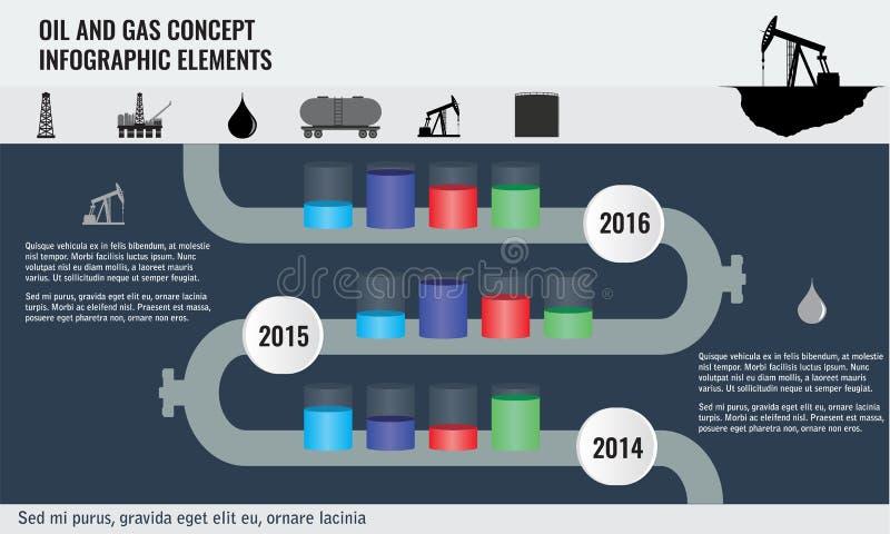 Olie en gaselementen van het concepten de infographic ontwerp met pijpleidingsweg royalty-vrije illustratie