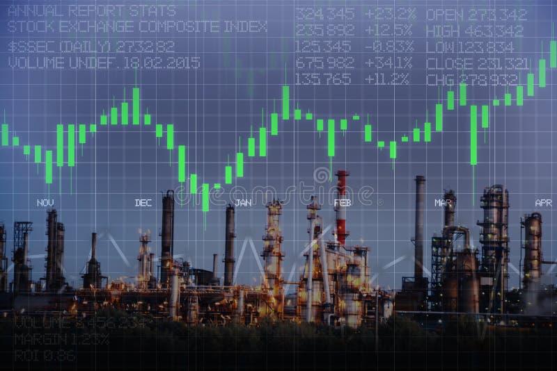 Olie en gasprijsevolutie met raffinaderijkrachtcentrale en effectenbeurs bedrijfsgrafiek stock foto