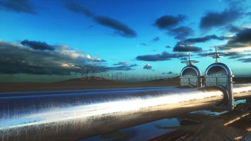 Olie, gasklep Pijpleiding in woestijn Olieconcept het 3d teruggeven