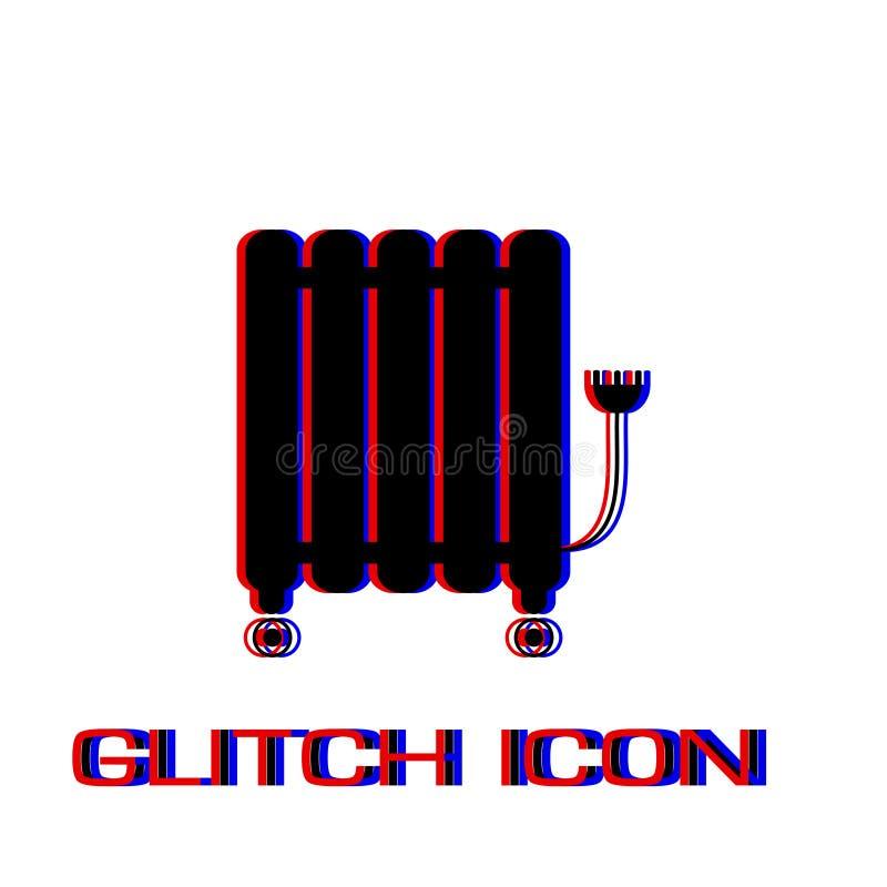 Olie - gevulde het pictogramvlakte van de radiatorverwarmer vector illustratie